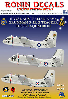 1/48 RAN S-2E/G Tracker 816/851 Squadron decals Limited Edtion