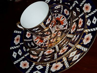 Antique Royal Crown Derby Imari 2451 5 Pc Setting W/ Coffee Cup 1910 - 1929