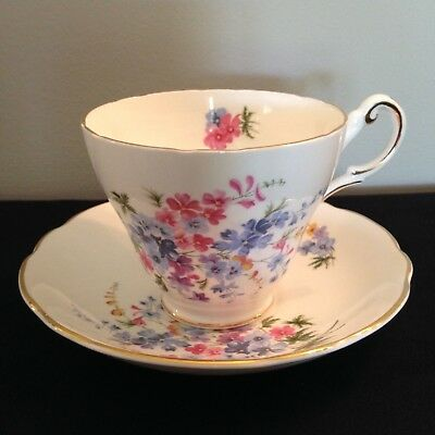 Regency fine china Pink/Blue flowers Teacup FREE SHIPPING