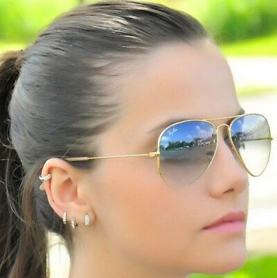 RAY BAN RB3025 58/14 AVIATOR Sunglasses GRAY GRADIENT Lens, GOLD Frame