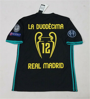 17-18 Real Madrid Away Black Soccer Shirt Football Jersey 12 Champions all patch