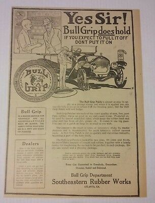 1919 Bull Grip Tire Patch Ad Southeastern Rubber Works Atlanta, Georgia