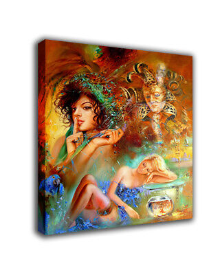 """Fantasy Art Oil Painting Print On Canvas Home Decor""""Women And Masks""""Framed"""