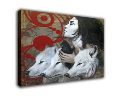 """Fantasy Art Oil Painting Print On Canvas Home Decor """"Women And The Wolf"""" Framed"""