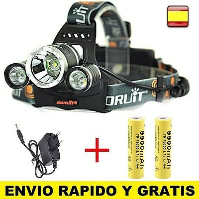 LINTERNA FRONTAL PARA CABEZA RECARGABLE OUTDOOR 8000LM 3x XM-L XML T6 HEADLAMP