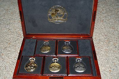 Disney Pocket Watch Collection In Wooden Case Rare Set Ap/5000 (Artist's Proof)