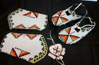 """Vintage Plains Beaded Moccasins 10"""" with Matching Cuffs & Hair Ornament"""
