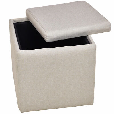 Linen Ottoman Storage Box Square Foot Stool Footstools Seat Wood Beige NEW