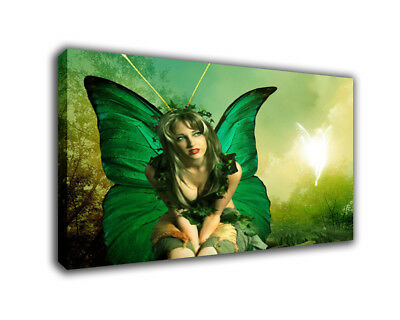 """Fantasy Art Oil Painting Print On Canvas Home Decor""""The Butterfly Woman""""Framed"""