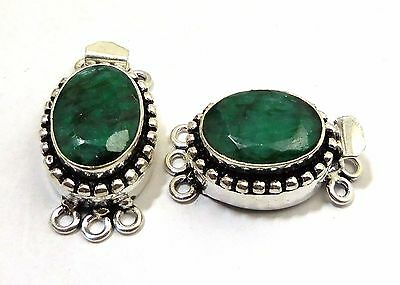 2Pcs Real Emerald Box Clasp 14X27Mm 3 Strands Antique Sterling Silver Plated#693