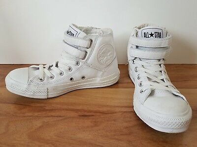 Converse All Star~White Leather~High Top Sneakers~Shoes Size 4.5 6.5 37