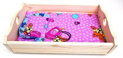 Wooden toy rocking cradle crib , bed for dolls with mattress & pillow