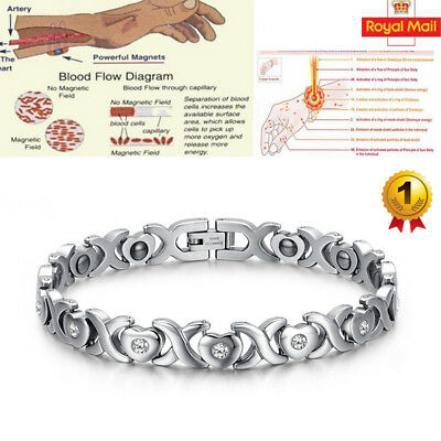 Ladies Magnetic Health Bracelet Silver Bangle Arthritis Pain Relief 086