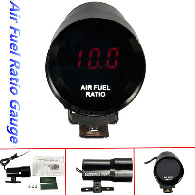 37mm Car Red Digital LED Air Fuel Ratio Gauge Meter Pointer AFR Smoked Len 12V
