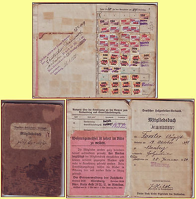 1920-1927 German Social Workers subscription booklet with 354 revenue stamps