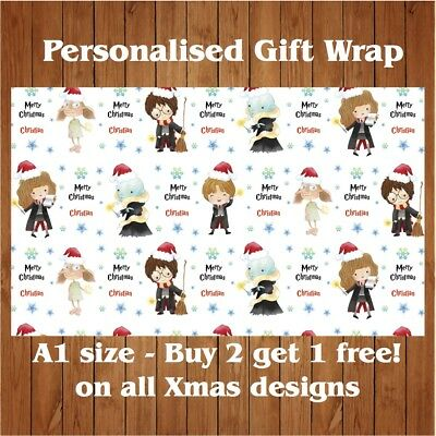 Personalised Harry Potter Christmas Wrapping Paper with 2 tags A1 Size.