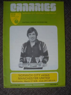 1976...NORWICH CITY v MANCHESTER UNITED....Division One.....Football Programme
