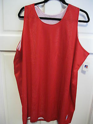"""Russell Red/white Reversible Basketball Mesh Shirts 2X/xxl/2Xl (52"""" Bust)"""
