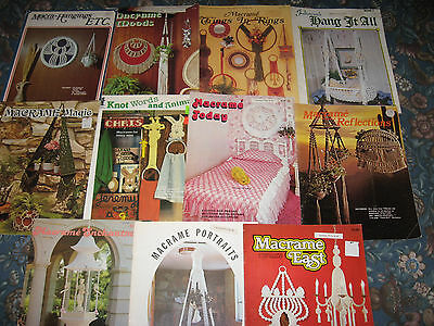 11 retired booklets, vintage macrame designs  mixed designs WALL HANGINGS DECOR