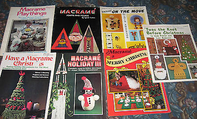 7 retired booklets, vintage macrame designs mixed designs christmas decor & toys