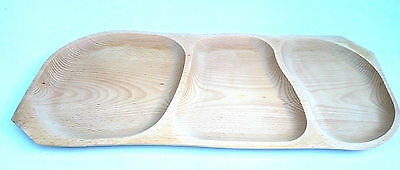 Wooden Serving tray with 3 sections ,large Barbecue tray ,untreated natural 25""