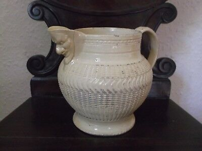 Rare To Find Antique Early Creamware Pottery Devil's Mask Basket Weave Jug C1800