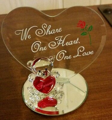 Teddy and heart glass figurine