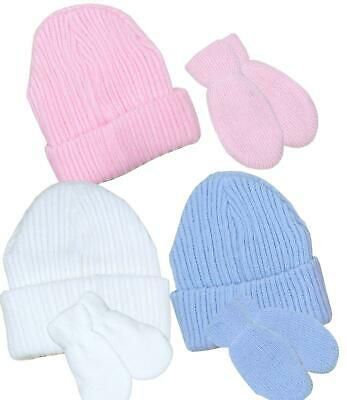 BabyPrem Baby Clothes Hat & Gloves Set Blue Pink White Double Knitted 0-6 Months