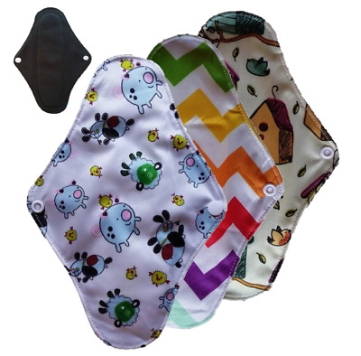 3x Bamboo Cloth Sanitary Pads Menstrual Panty Liner Leak-proof Washable Reusable