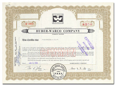 Huber-Warco Company Stock Certificate (Hay Rake)