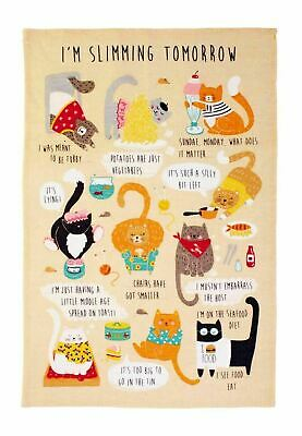 New Ulster Weavers I'm Slimming Tomorrow Funny Cats Diet 100% Linen Tea Towel