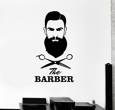 Vinyl Wall Decal Barber Shop Hair Salon Scissors Tools Stylist Mural (ig5024)