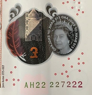 England New £10 Polymer Near Super Solid Number AH22 227222 (222222 Nearly)