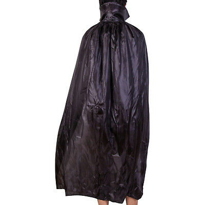 VAMPIRE CAPE HALLOWEEN FANCY DRESS COSTUME BLACk LONG ADULT CAPE DRACULA COSTUME