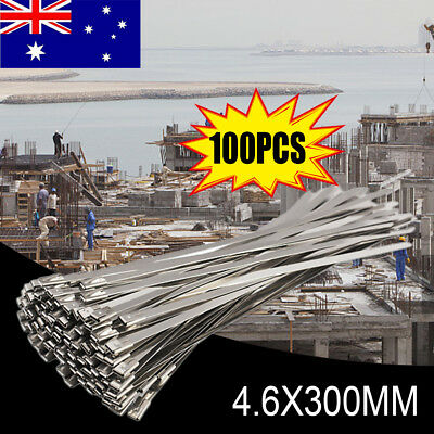 100pc Stainless Steel Exhaust Wrap Coated Metal Locking Cable Zip Ties 4.6*200mm