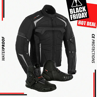 Motorbike Motorcycle Waterproof CE Armored Jacket Biker Short Ankle Leather Boot
