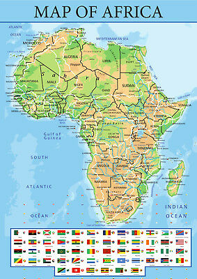 Map of Africa With Flags from A5 to A0 Size, Poster Education Aid.
