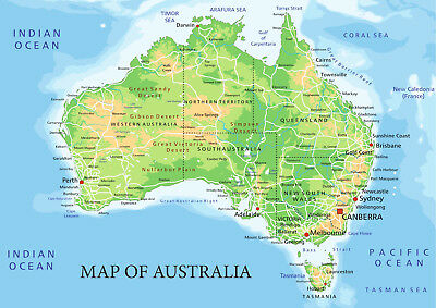Map of Australia from A5 to A0 Size, Poster Education Aid.