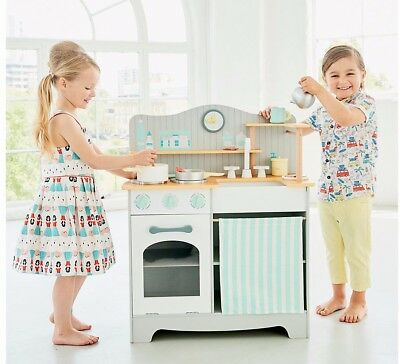 ELC Wooden Classic Kitchen Kids Girls Boys Toy Playset with Oven Hob Sink Clock
