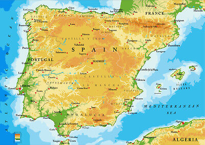 Map of Spain and Portugal Showing Major Towns and Citys from A5 to A0 Size