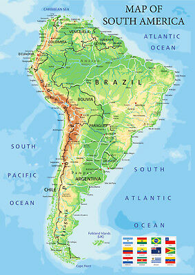 Map of South America Showing Major Towns and Citys from A5 to A0 Size