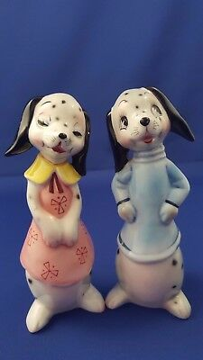 "Py? Anthropomorphic Dalmatian Dog Couple 6"" Salt Pepper Shakers Japan #6936 Ec"