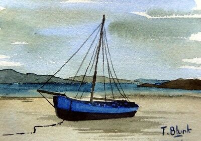 ORIGINAL AQUARELL - Boot am Strand in Irland.