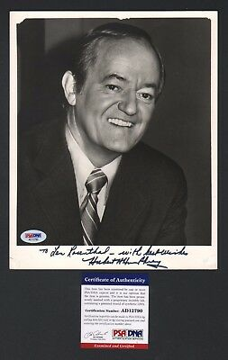 Gorgeous Vice President Herbert Humphrey Signed Photo w Nice Inscription PSA/DNA