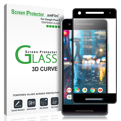 Google Pixel 2 amFilm Full Cover Tempered Glass Screen Protector (1 Pack, Black)