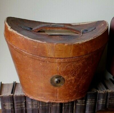 Antique Vintage Brown Leather Top Hat Case Box. Home Decor Storage. Shop Display