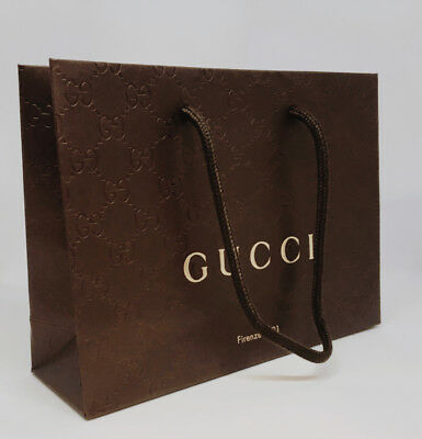 New GUCCI Brown Paper Gift/Shopping Bag- Sealed In Plastic Wrapper