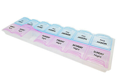 14 Slot Pill Case ~ AM PM 7 Day Medication Storage Case, Organiser Dispenser Box