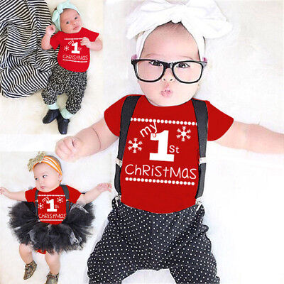Baby Toddler Newborn Christmas snowflake Clothes Romper Jumpsuit Bodysuit Outfit