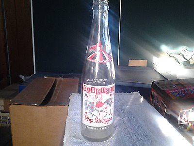 Vintage 1970s Carousel Pop Soda Bottle 12 oz ACL Advertising Warren Ohio Horse